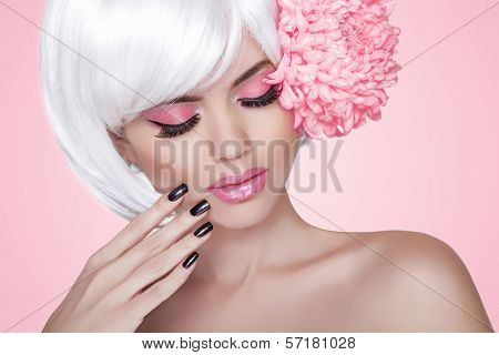 Makeup. Manicured Nails. Fashion Beauty Model Girl Portrait With Flower. Treatment. Beautiful Blonde