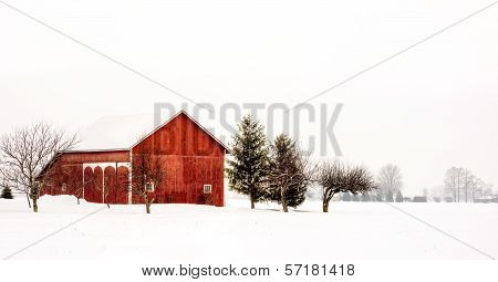 Snowy Winter Barn