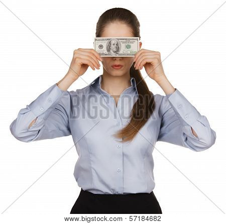 Woman Blocking The Face Of Hundred Dollar Bills