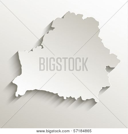 Belarus map card paper 3D natural raster blank