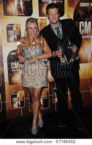 Miranda Lambert and Blake Shelton at the 44th Annual CMA Awards, Bridgestone Arena, Nashville, TN.  11-10-10