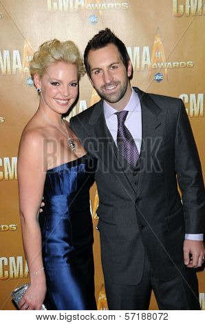 Katherine Heigl and Josh Kelly at the 44th Annual CMA Awards, Bridgestone Arena, Nashville, TN.  11-10-10
