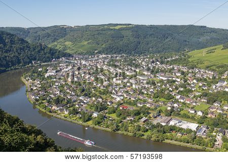 Aerial View Of Traben-trarbach At The River Moselle In Germany
