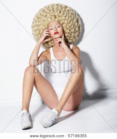 Eccentric Woman In Original Futuristic Braided White Wig. Fancy Hairs