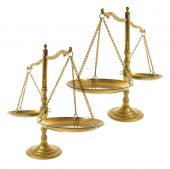 pic of pro-life  - Brass Scales on an Isolated White Background - JPG