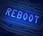 pic of reboot  - Abstract style illustration depicting printed circuit board components with a reboot concept - JPG
