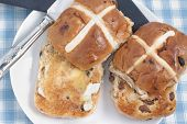 foto of lent  - Hot Cross Buns toasted and buttered traitionally eaten at Lent or Easter - JPG