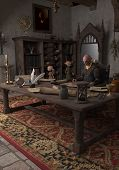stock photo of goblin  - Goblin Alchemist and servants in his study - JPG