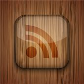 picture of flux  - Vector wooden app icon on wooden background - JPG