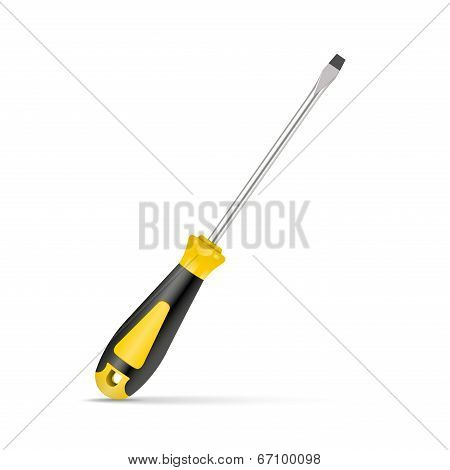 Yellow Screwdriver Isolated On White Background. Vector Illustration