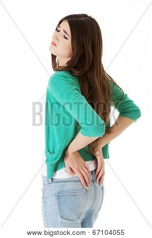Teen student woman with back pain