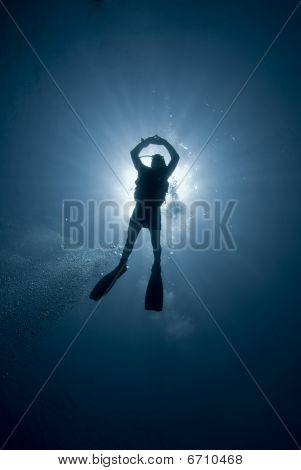 Scuba Divers And Sun