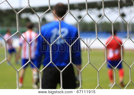 Soccer net. Abstract football background