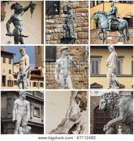 Collage of statues in Florence