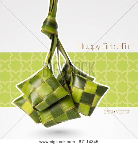 Vector Muslim Ketupat (Rice Dumpling). Translation: Happy Eid al-Fitr ( Feast of Breaking the Fast)