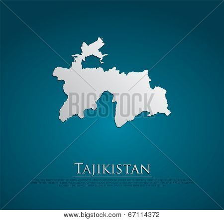 vector Tajikistan Map card paper on blue background, high detailed