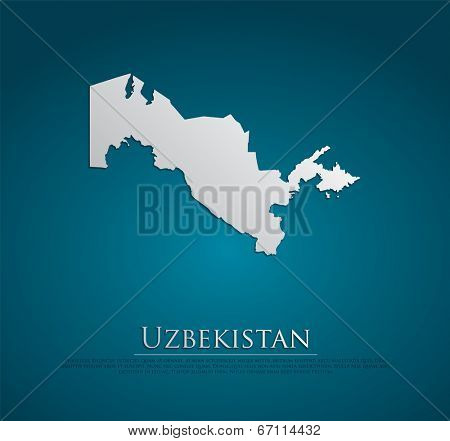 vector Uzbekistan Map card paper on blue background, high detailed