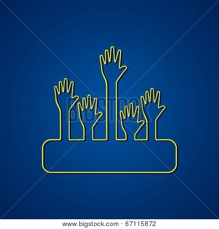 Helping hand design background stock vector