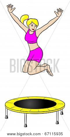 Woman On A Trampoline