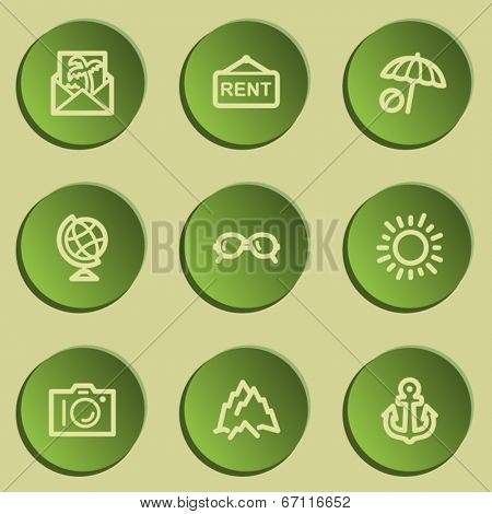 Travel  web icon set 5,  green paper stickers set