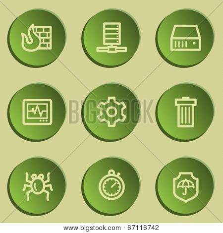 Internet security web icons , green paper stickers set