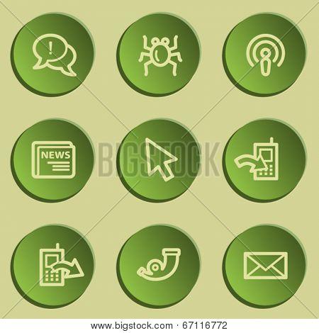 Internet  web icon set 2, green paper stickers set