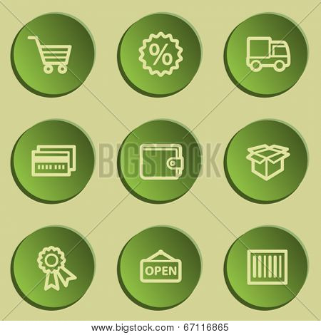 Shopping web icon set 2 , green paper stickers set