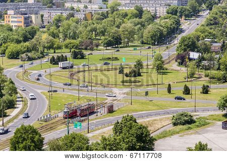 Aerial View On Traffic Circle - Bedzin, Poland.