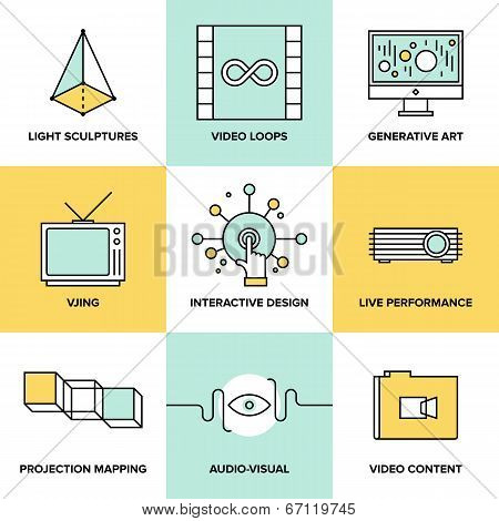 Audio And Visual Art Design Flat Icons