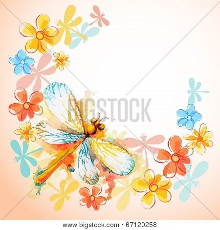 Flying Dragonflies with Flowers