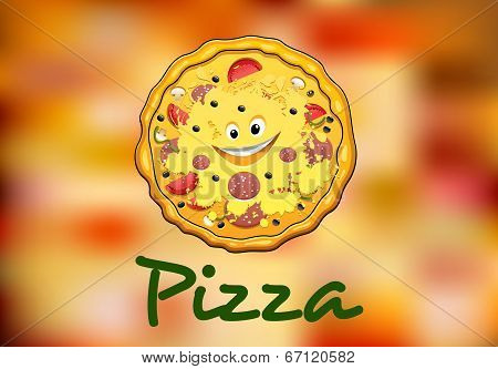Full round cartoon pizza