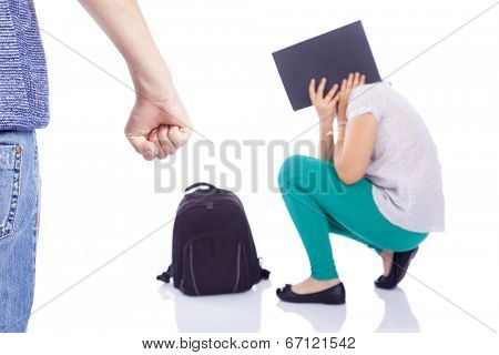 Little girl with fear suffering bullying by a boy, isolated on white background