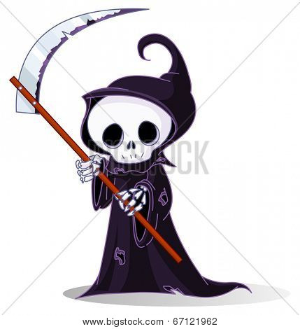 Cute cartoon grim reaper with scythe isolated on white. Raster version.