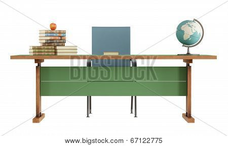 Retro Teacher's Desk On White