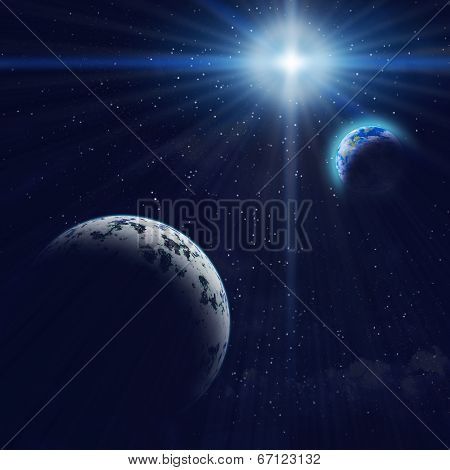Gigant Blue Planet And Earth In Space.