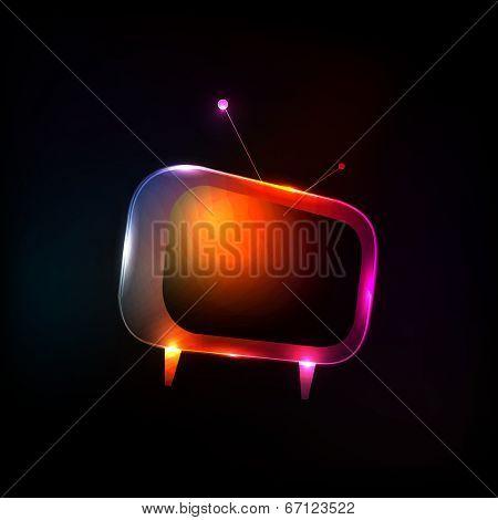 Abstract Neon Light Tv vector, easy editable