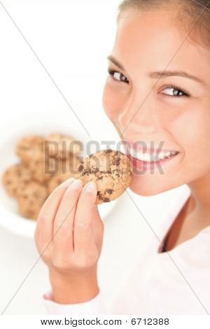 Beautiful Woman Eating Chocolate Chip Cookie