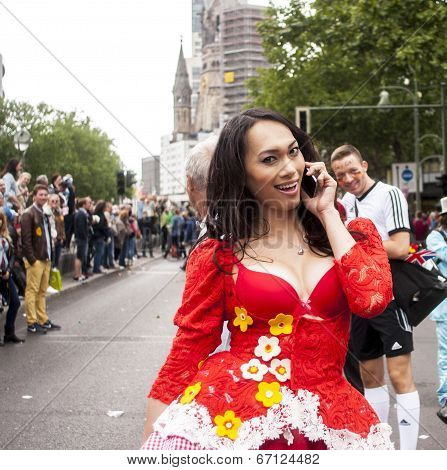 Unidentified Woman During Gay Pride Parade