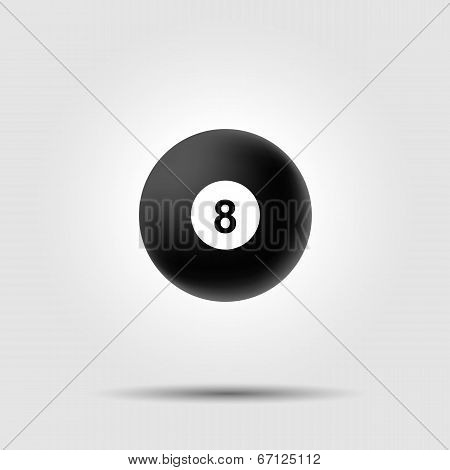 Billiard ball 8 on white background with shadow