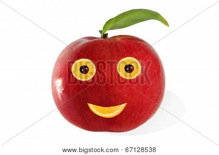 Creative Food.  Positive Portrait  Made of Apple And Fruits