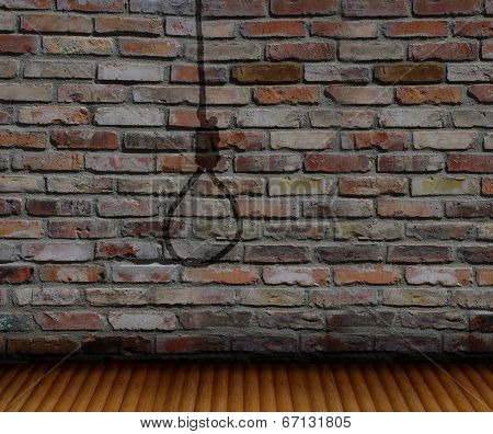 Brick Wall  And Shadow Gallows