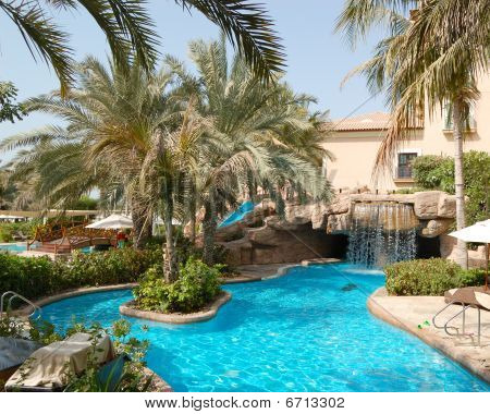 Swimming Pool At Luxury Hotel, Dubai, Uae
