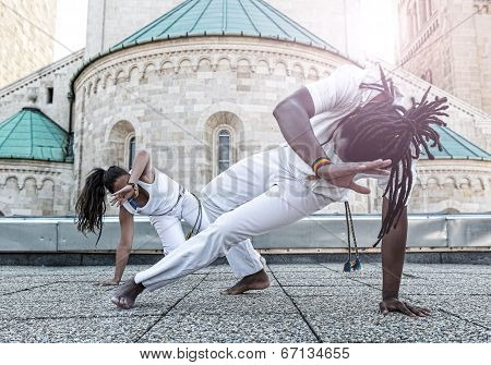 Young pair capoeira partnership spectacular sport