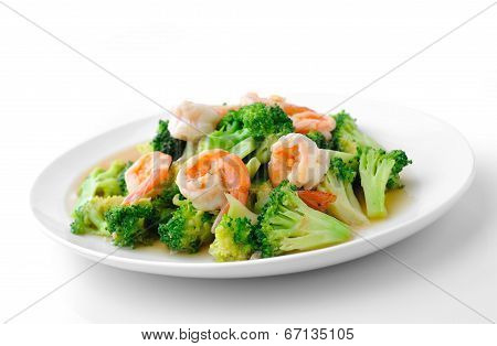 Thai Healthy Food Stir-fried Broccoli With  Shrimp
