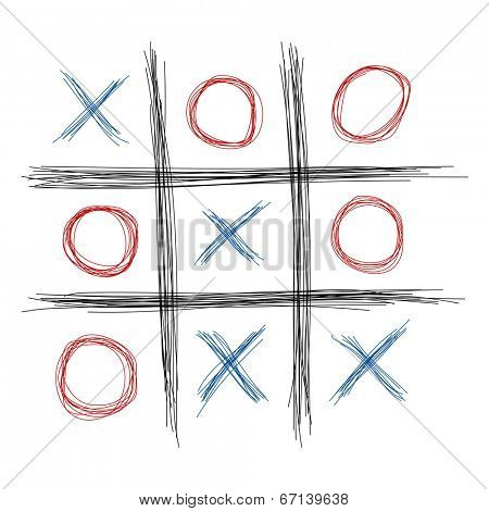 Scribble tic tac toe illustration