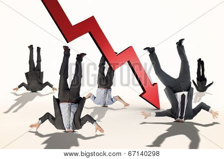 Businessmen burying their heads against red arrow pointing down