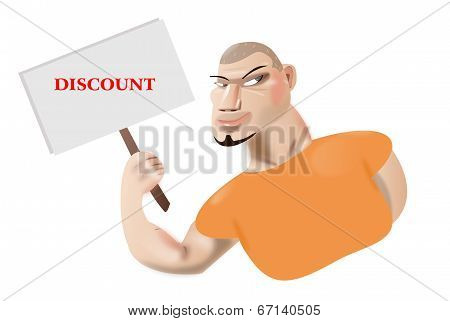 Character holding white sign to write it on your text