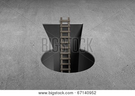 Key Shape Hole With Wooden Ladder On Ground