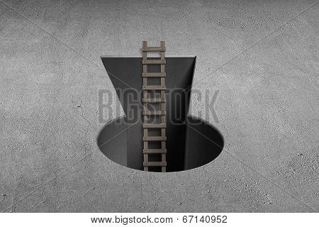 Key Shape Hole With Wooden Ladder On Ground