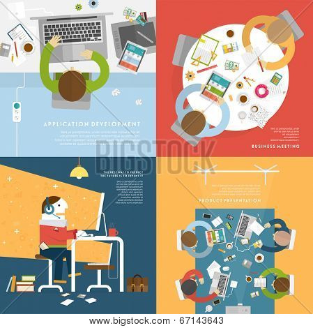 Set of Flat Style Illustrations: Office Worker, Business Meeting and Brainstorming, Product Presenta poster